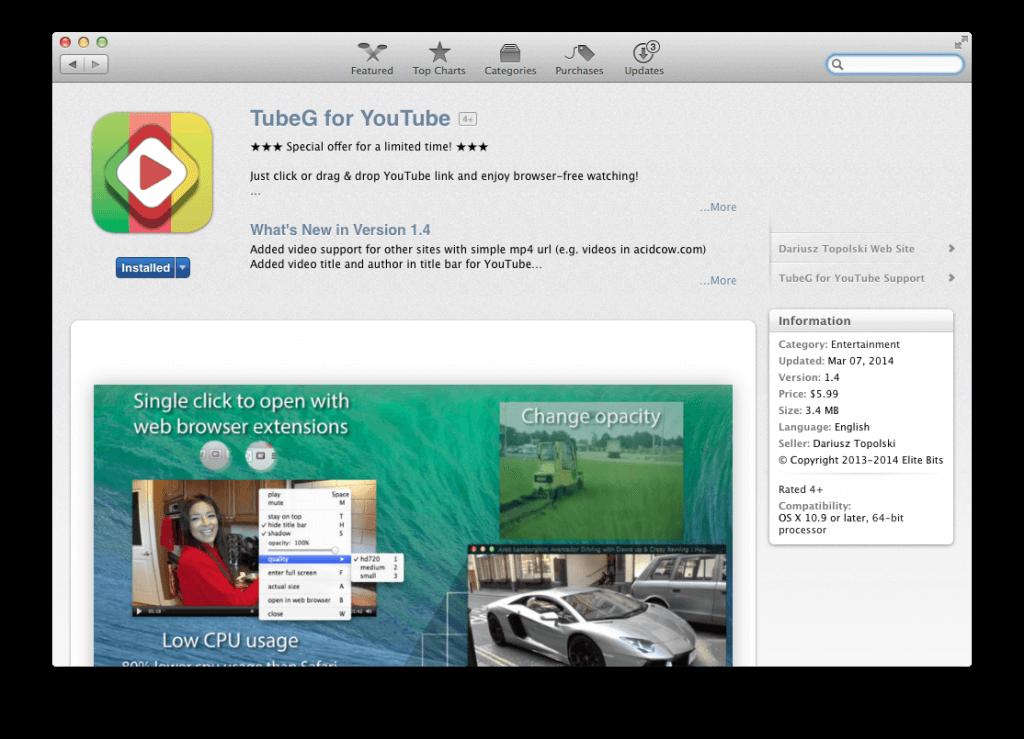 TubeG – odtwarzacz filmów z serwisu YouTube na Mac'a.