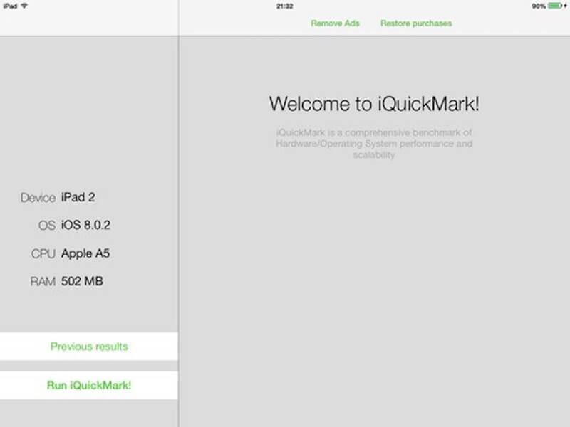 iQuickMark porównaj wydajność swojego sprzętu z innymi urządzeniami Apple.