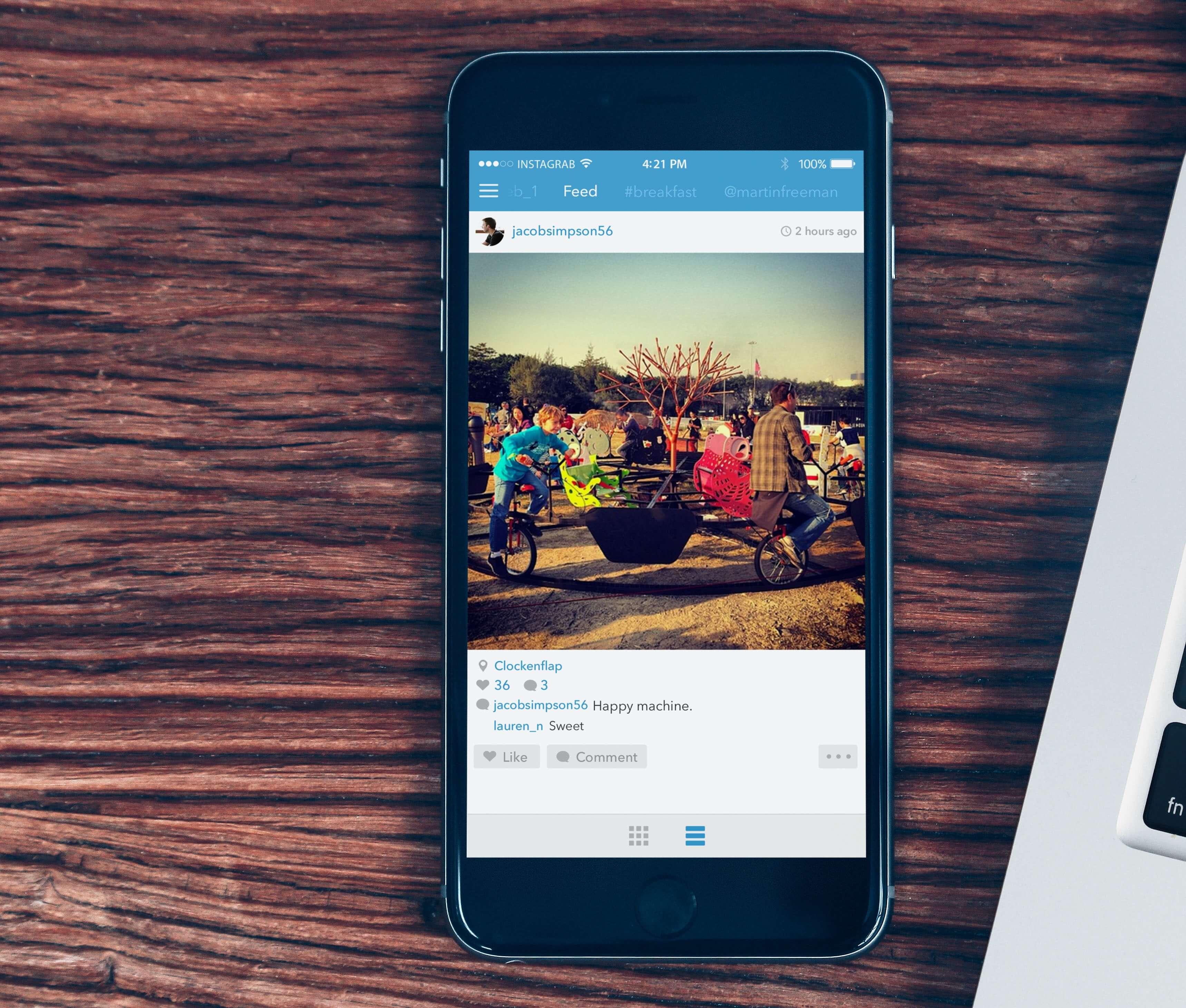 Instagrab – rozbudowana aplikacja serwisu Instagram na iPhone'a, oraz iPada.