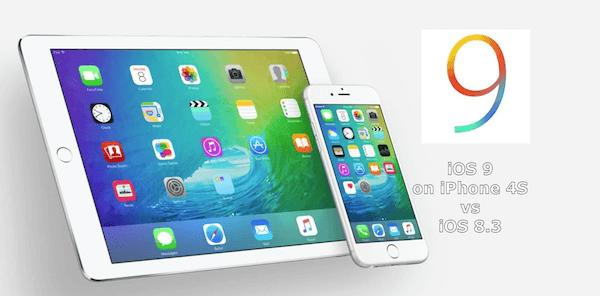 iOS 8.3 vs iOS 9 beta iPhone 4S.