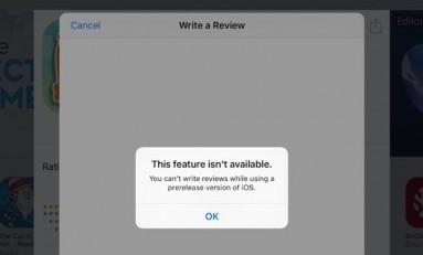 Blokada dodawania recenzji w App Store dla użytkowników systemu Beta.