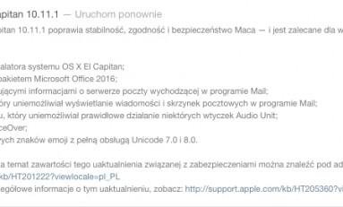 Aktualizacja systemu OS X El Capitan 10.11.1!