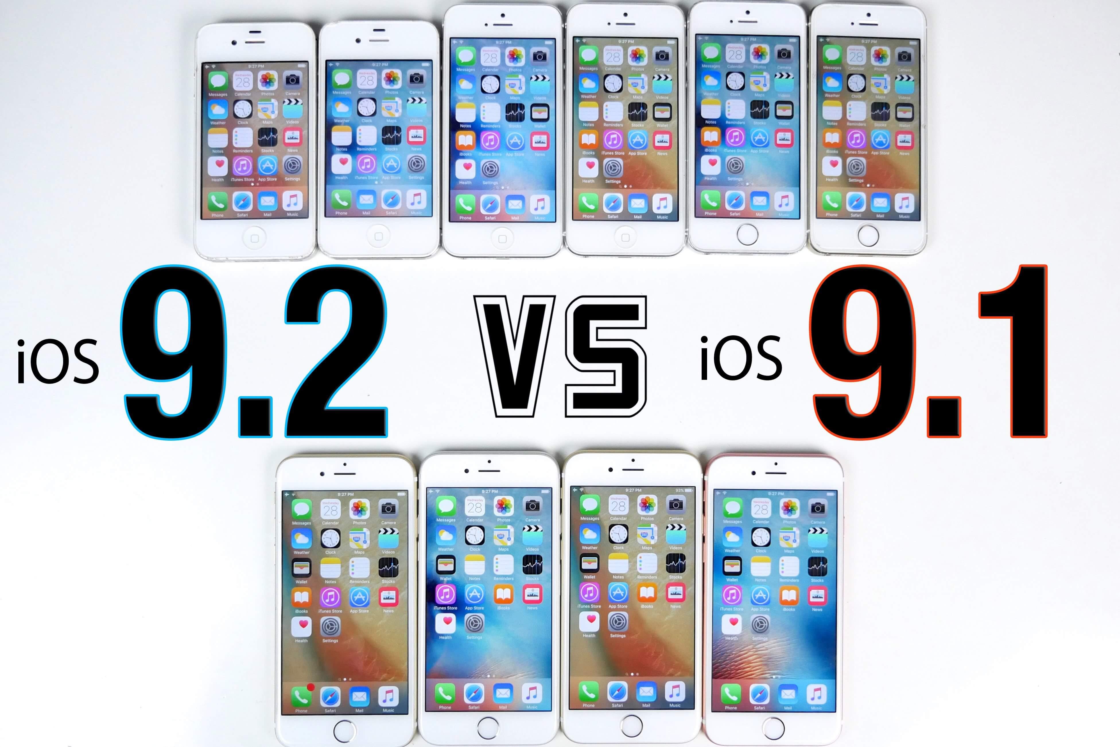 iOS 9.1 vs iOS 9.0.2 iPhone 6S, 6, 5S, 5 i 4S test szybkości