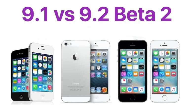 Test iOS 9.1 vs 9.2 beta 2 iPhone 5, 5s, 4s