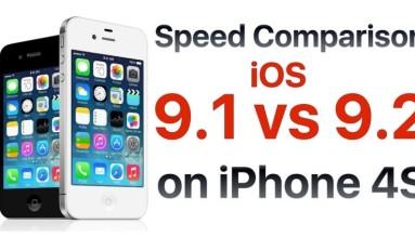 iOS 9.2 vs iOS 9.1 iPhone 4S porównanie szybkości.