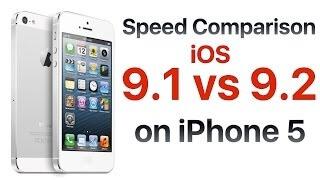 iPhone 5 iOS 9.1 vs iOS 9.2 test szybkości