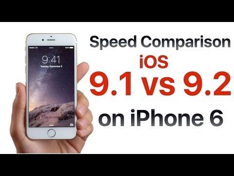 iPhone 6 iOS 9.1 vs iOS 9.2 porównanie szybkości