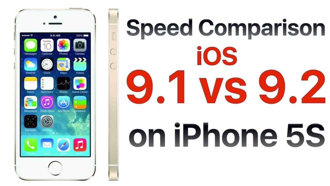 iPhone 5S iOS 9.1 vs iOS 9.2 test szybkości.