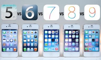 iPhone 4S test szybkości iOS 5 vs iOS 6 vs iOS 7 vs iOS 8 vs iOS 9