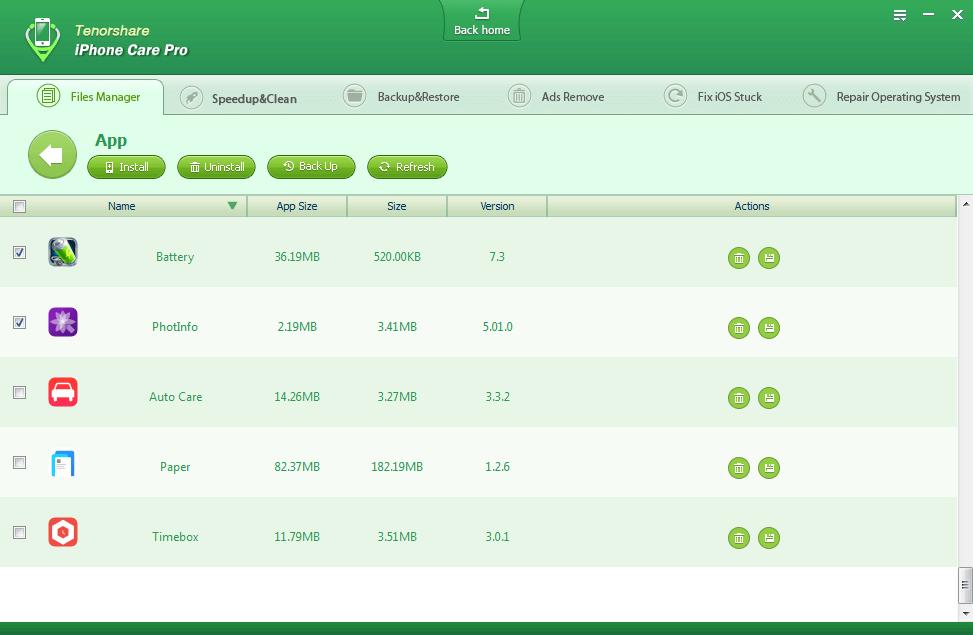 iPhone Care Pro file menager aplikacje